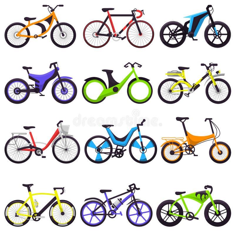 Biking μεταφορά κύκλων ποδηλατών ποδηλάτων διανυσματική με το bicycling σύνολο απεικόνισης ροδών και πενταλιών ανακύκλωσης bicycl ελεύθερη απεικόνιση δικαιώματος