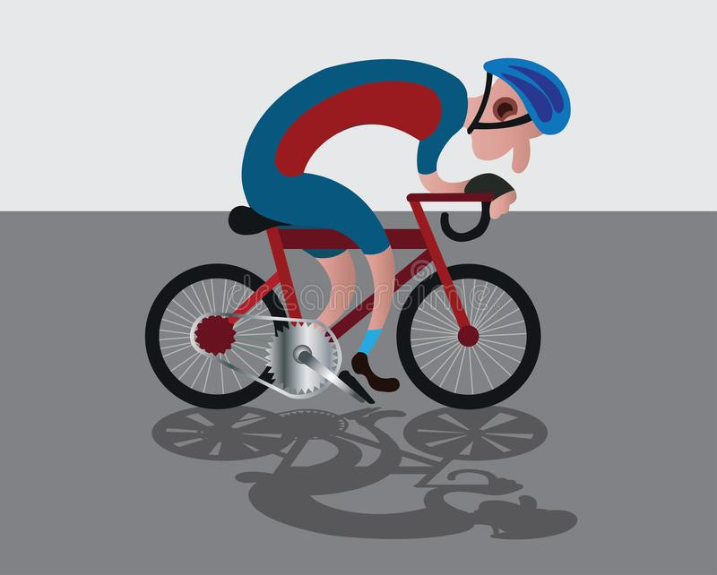 Biking along the road. A racer riding his bike along the highway royalty free illustration