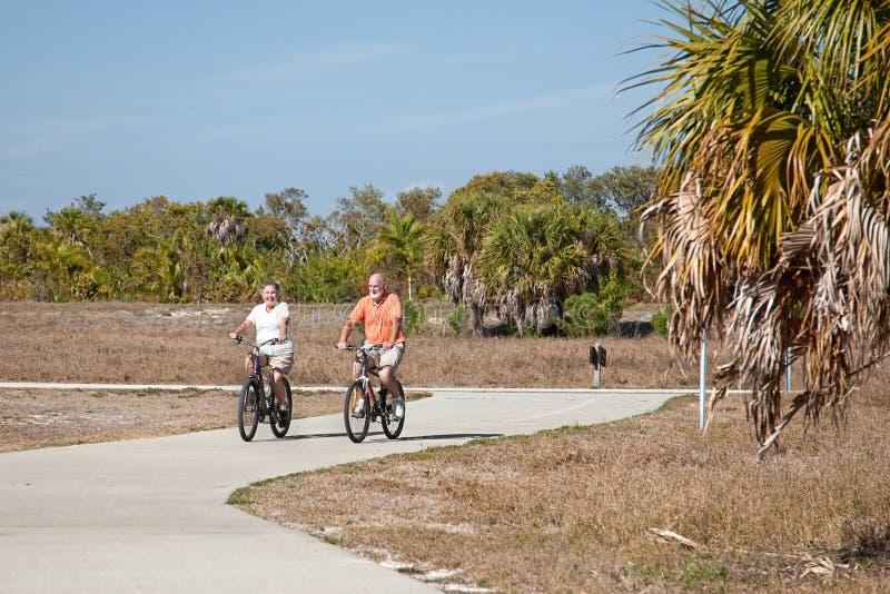Biking ativo dos séniores foto de stock
