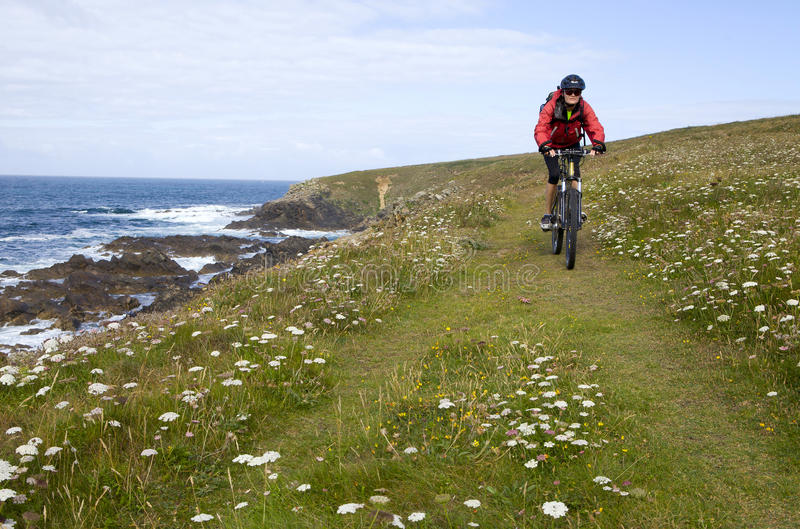 Biking in Brittany stock photography