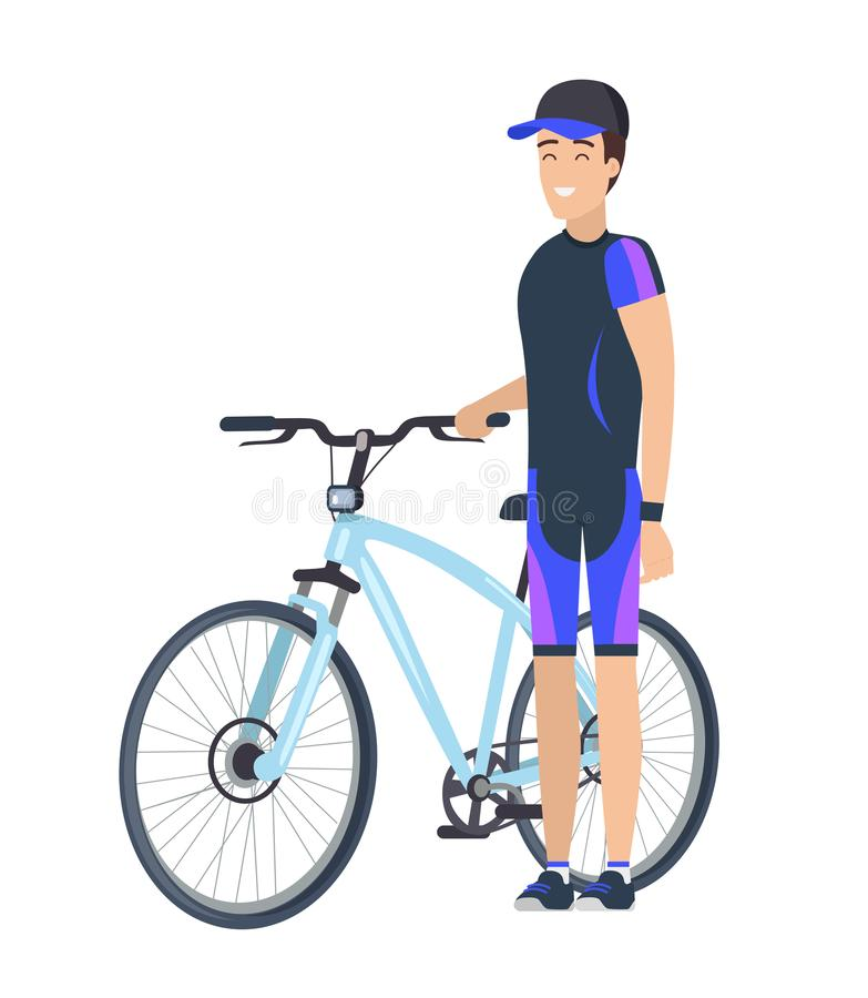 Biking Concept Icon of Male in Cap Standing Bike royalty free illustration