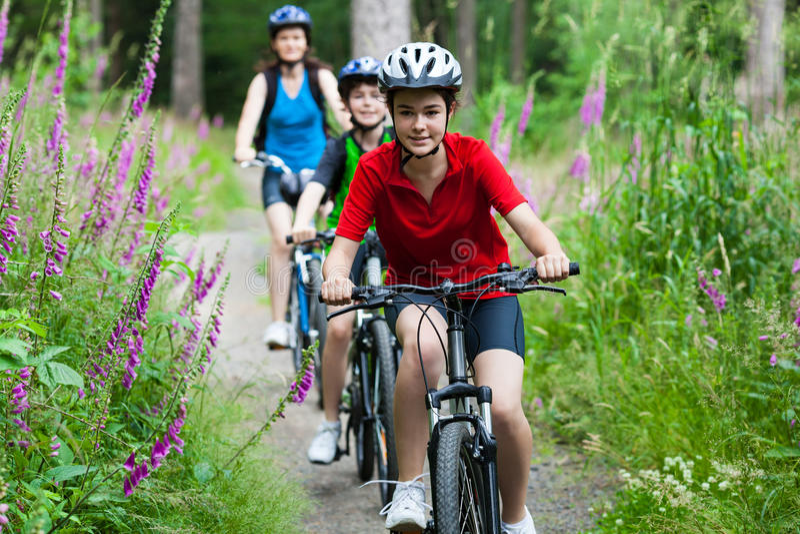 Biking da família fotos de stock