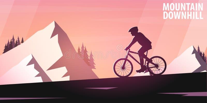 Biking da montanha Bicicleta em declive Bandeira do esporte, estilo de vida ativo Ilustração do vetor ilustração royalty free