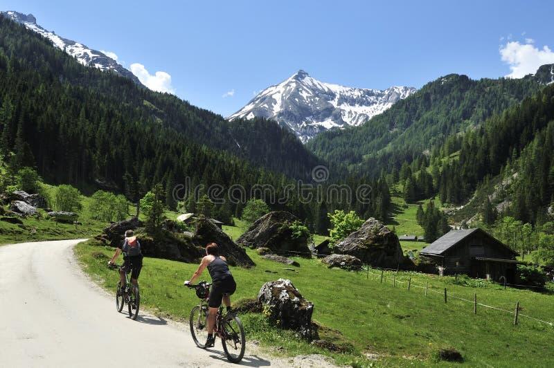 Biking de montanha em Preuneggtal, Schladminger Tauern, Steirmark, Áustria fotos de stock royalty free