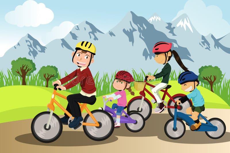 Biking della famiglia illustrazione di stock