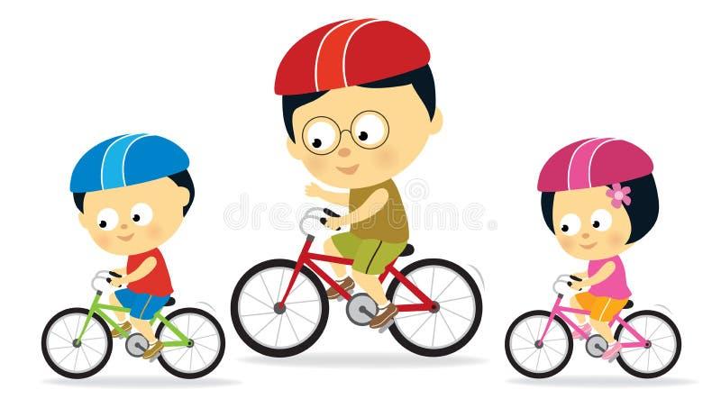 Biking do pai e dos miúdos (Asian) ilustração royalty free