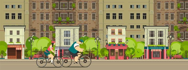 Biking door de stadsstraten vector illustratie
