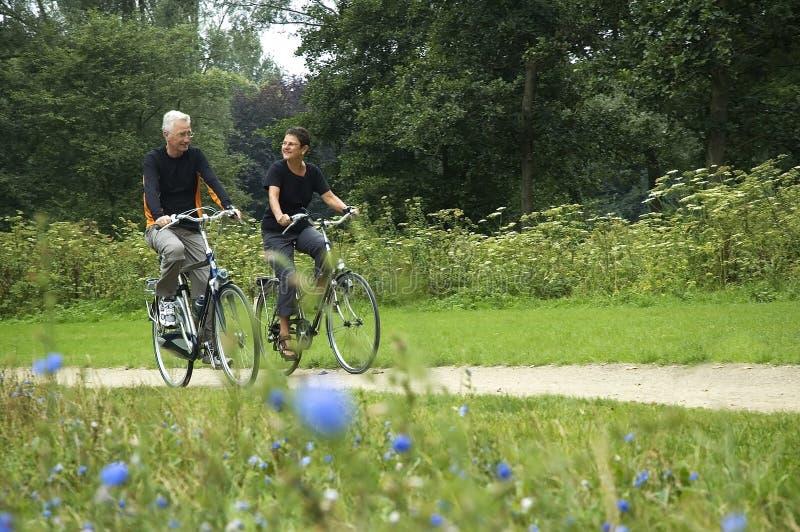 Biking dos séniores foto de stock