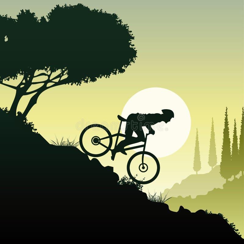Biking in een mooi landschap vector illustratie