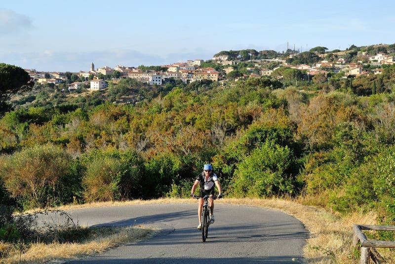 Biking on Elba Island, Tuscany, Italy royalty free stock photography