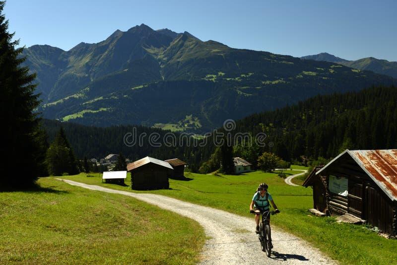 Biking en Alp Nagens, Flims, Graubunden, Suiza imagen de archivo