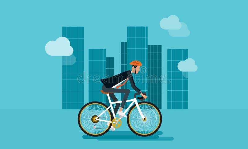 Biking liso do caráter do homem de negócios vai trabalhar ilustração stock