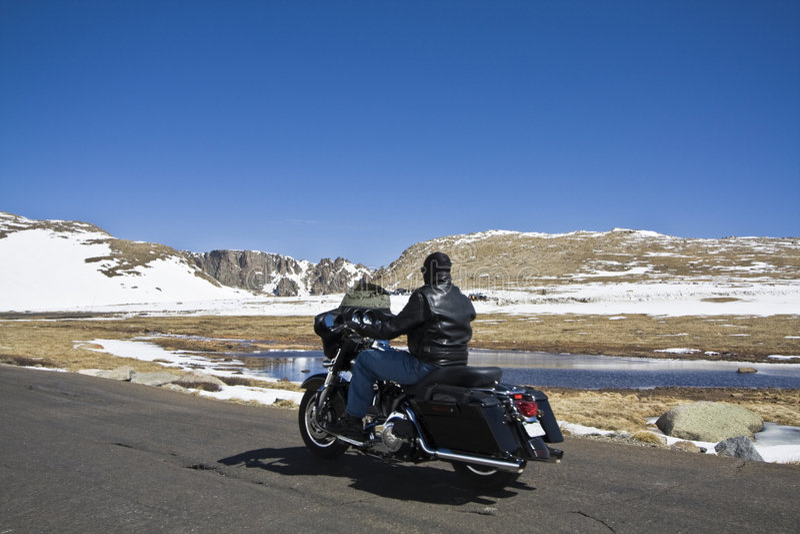 Biking in Rockies royalty free stock image