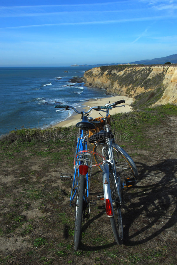 Biking To The Beach royalty free stock photo