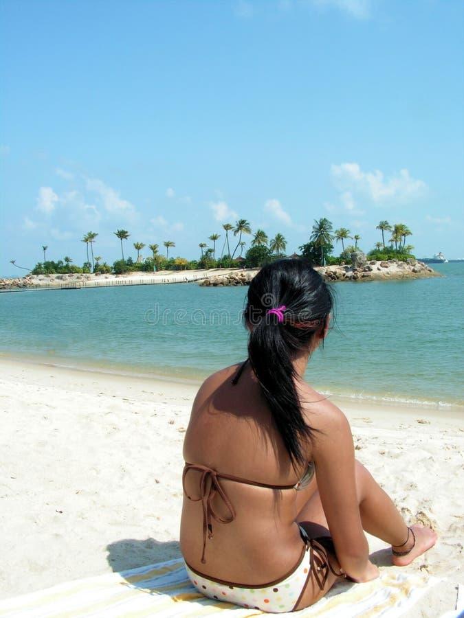bikini κυρία που φαίνεται έξω θάλασσα στοκ εικόνα με δικαίωμα ελεύθερης χρήσης
