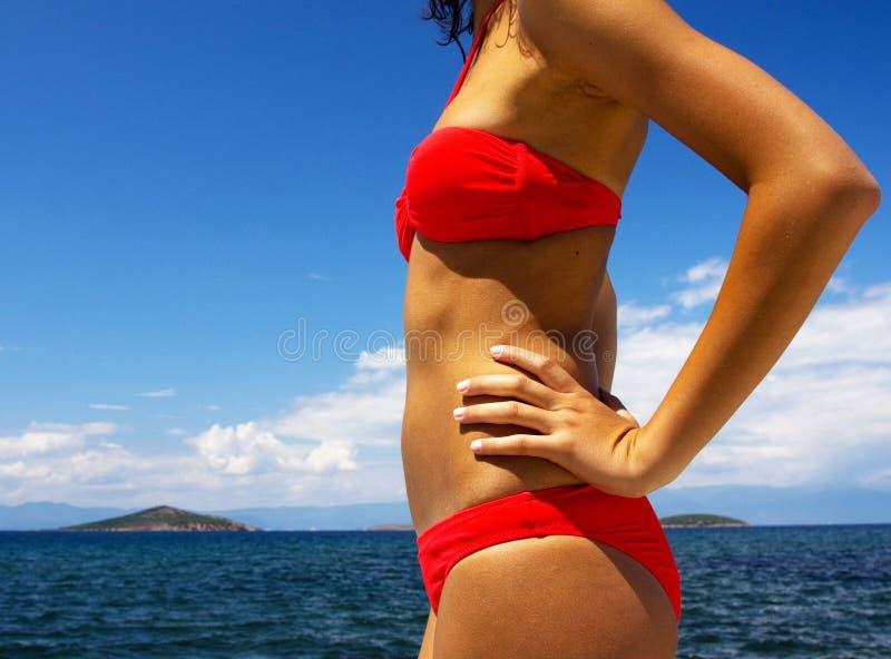Bikini in action royalty free stock photo