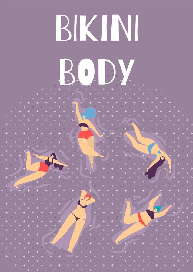 Bikini ciała kobiety lata przyjęcia kreskówki Płaski sztandar royalty ilustracja