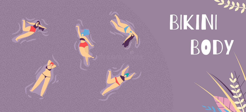 Bikini ciała lądowania strona Motywuje jaźni akceptację royalty ilustracja