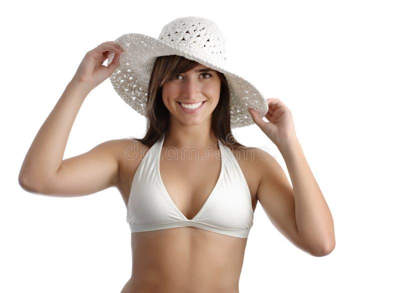 Bikini da portare della giovane donna immagini stock
