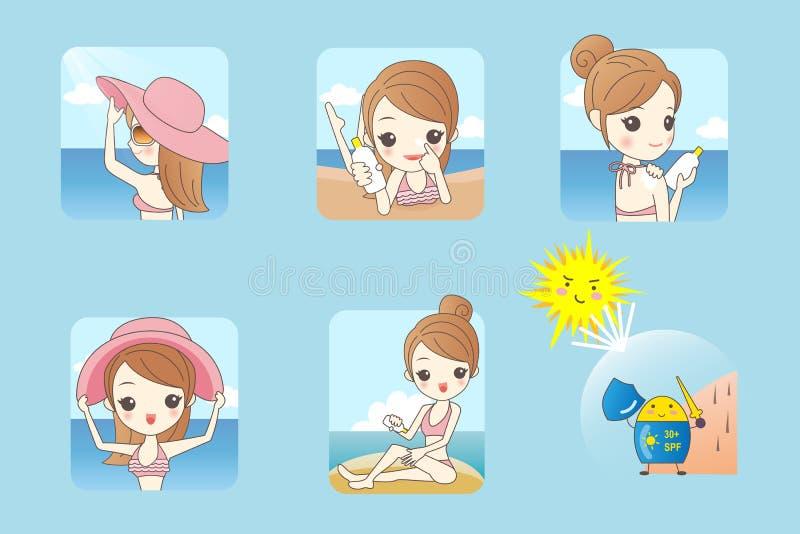 Bikini de port de femme sur la plage illustration libre de droits