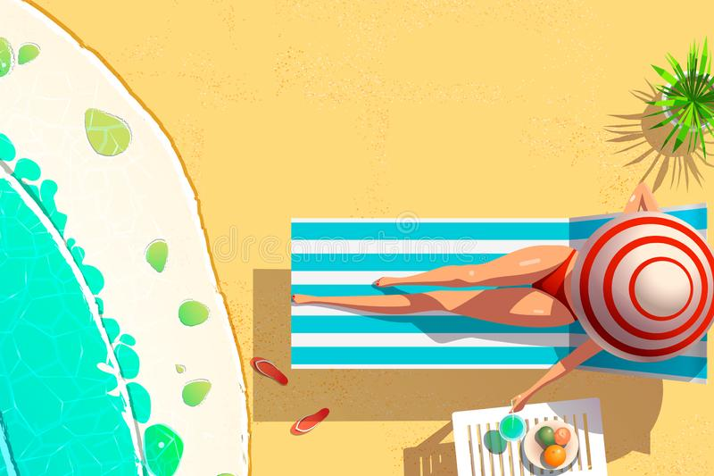Bikini der jungen Frau auf Sonnenruhesesselholdingkokosnusscocktail-Sommerferienkonzept, flache Art lizenzfreie abbildung
