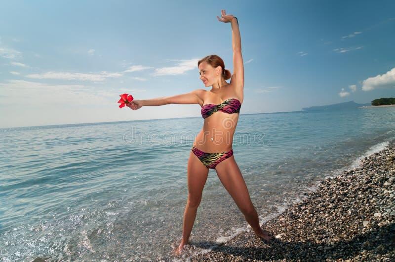 bikini dziewczyny czerwony seksowny target1506_0_ zdjęcia royalty free