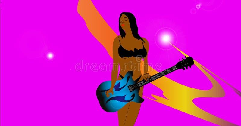 bikini dziewczyny gitary sztuka obraz stock