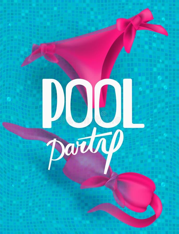 Bikini in een zwembad De partij van de pool royalty-vrije illustratie