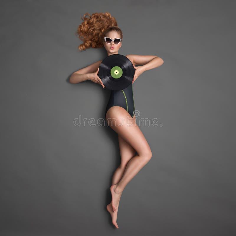 Bikini en vinyl royalty-vrije stock foto