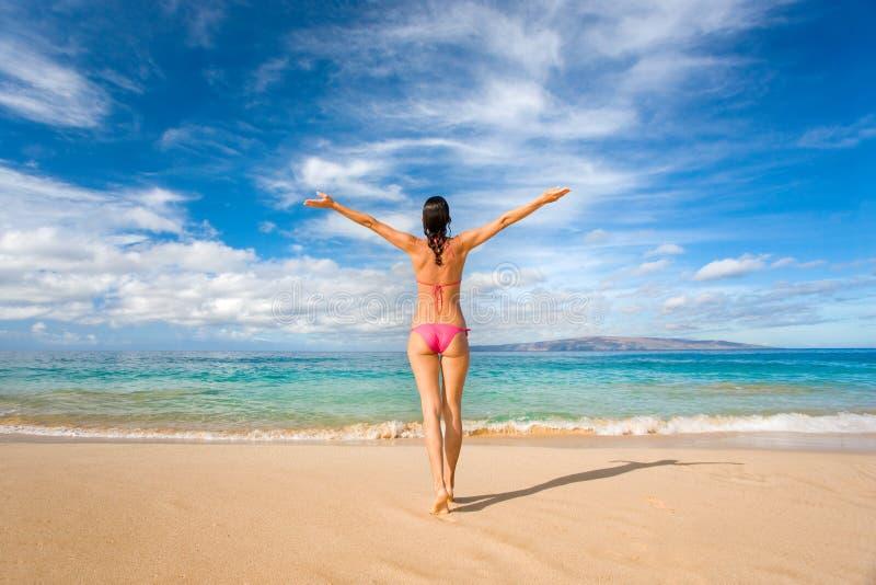 Bikini Freedom On Tropical Beach Stock Photos