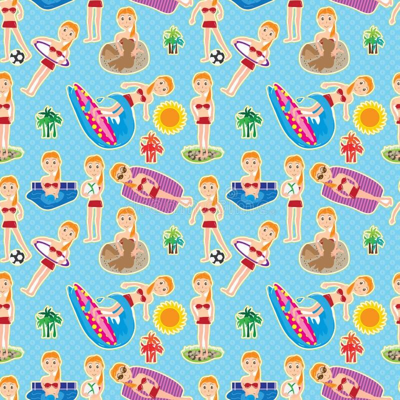 Bikini Girl Seamless Pattern_eps royalty free illustration
