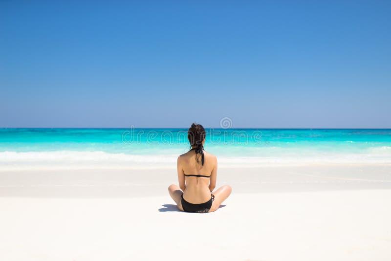Bikini Girl on tropical beach paradise of Thailand royalty free stock images