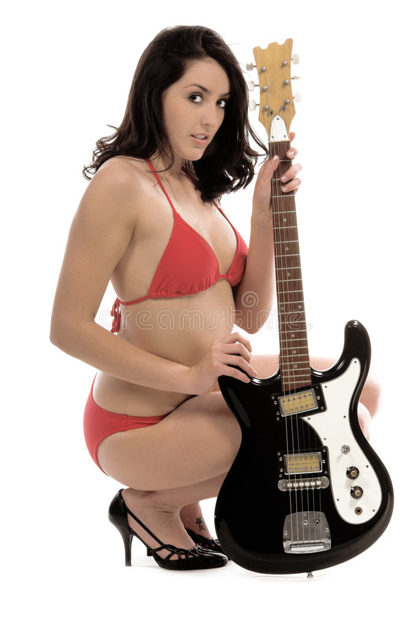 Bikini Guitar stock photos