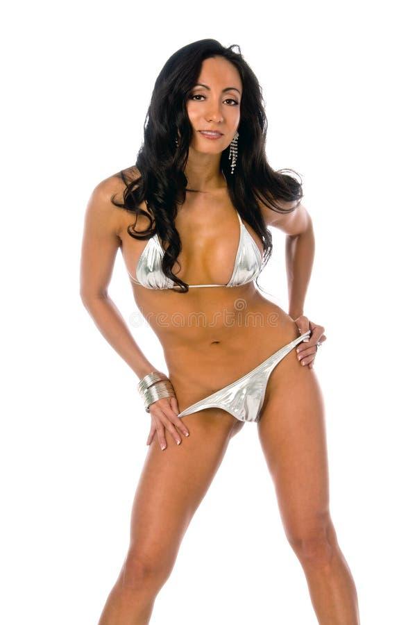 bikini kobieta łacińska kruszcowa obraz stock