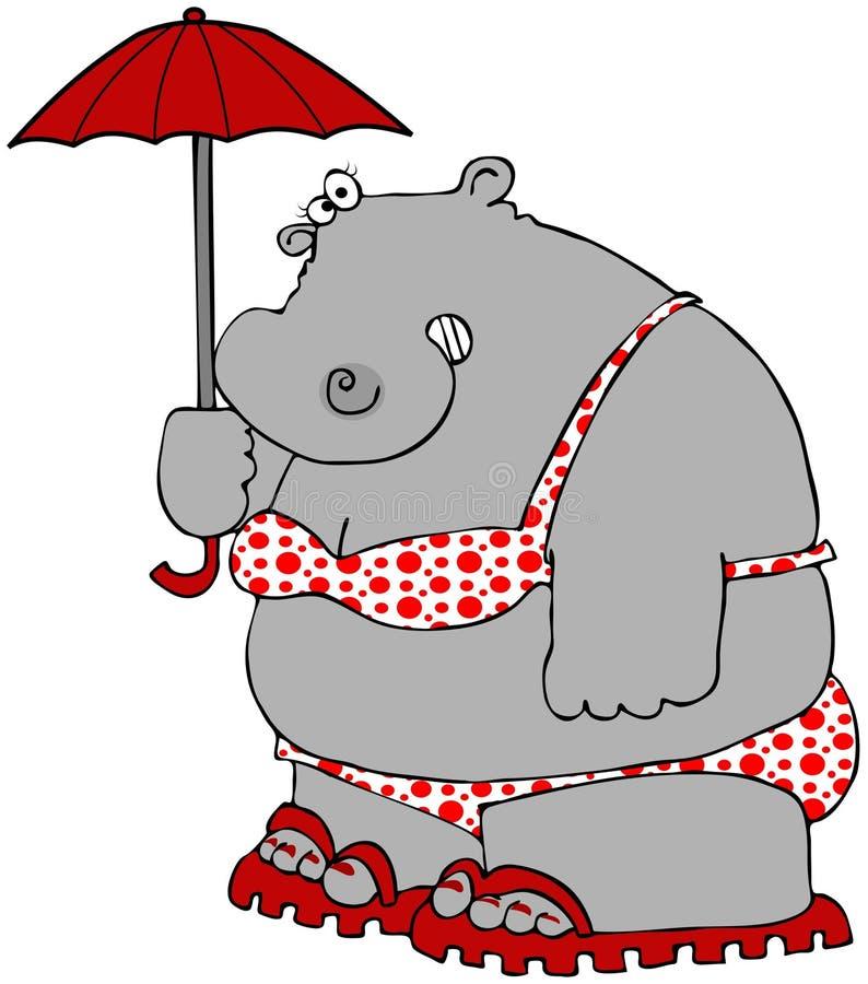 bikini kropki hipopotama polka royalty ilustracja