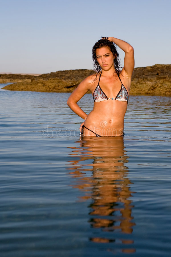 Bikini model. Hot brunette bikini model on the sea stock photos