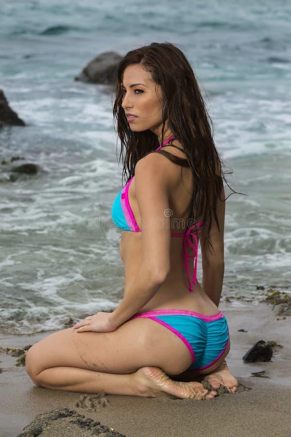 Bikini Model On A Beach royalty free stock photos