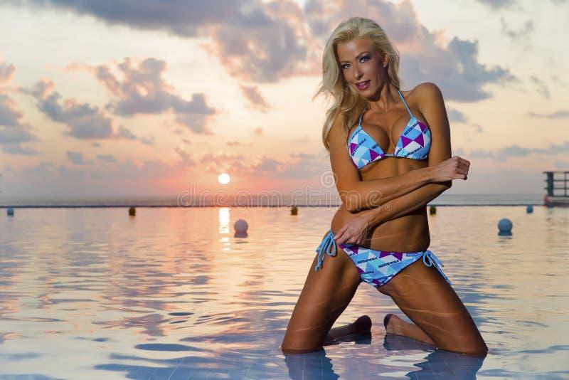 Bikini Model At Sunrise stock photos