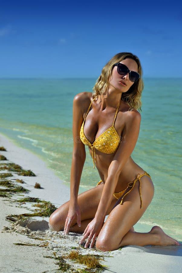 Bikini modela pozować seksowny przed kamerą obrazy stock