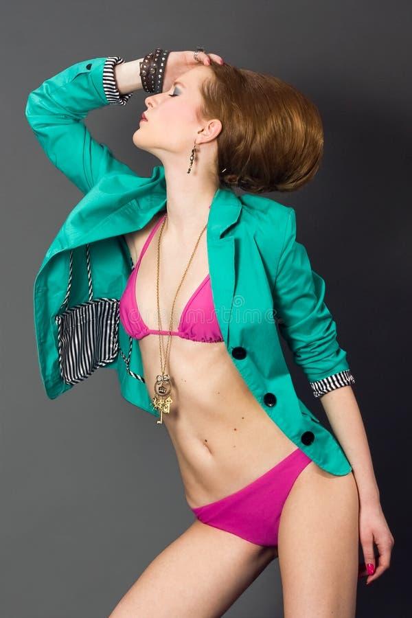 bikini mody dziewczyny kurtki turkus obrazy royalty free
