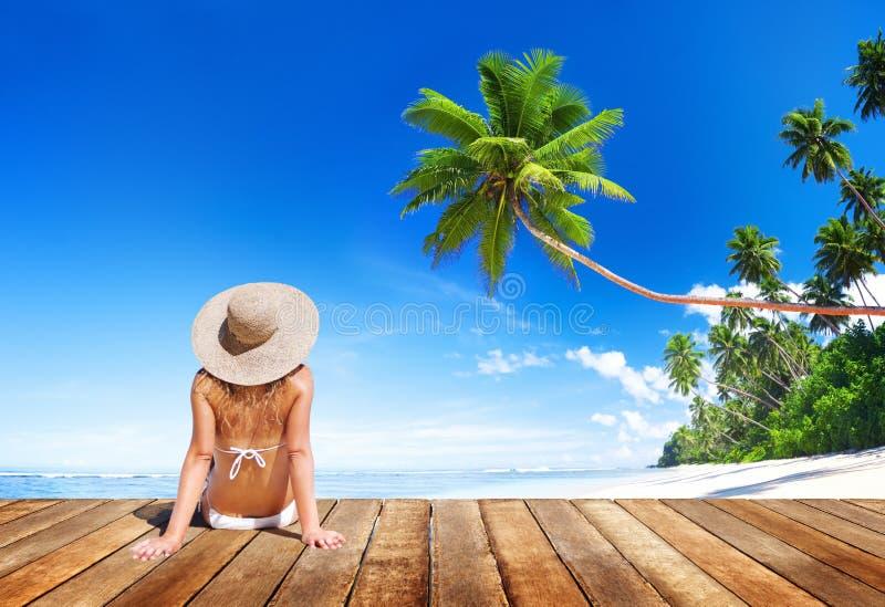 Download Bikini Que Lleva De La Mujer En Vacaciones De Verano Foto de archivo - Imagen de sombrero, swimsuit: 41920628