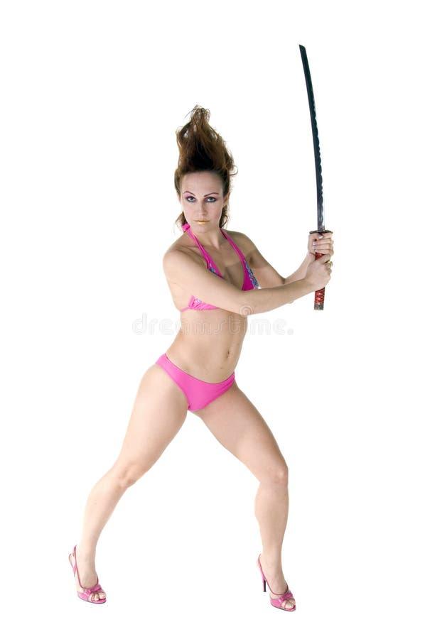 Bikini-Samurai-Tänzer stockfoto