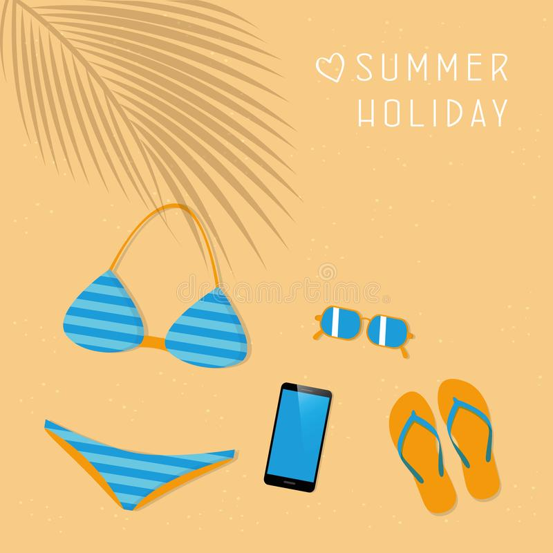 Bikini smartphone okulary przeciwsłoneczni i flipflops damy lata moda ilustracja wektor