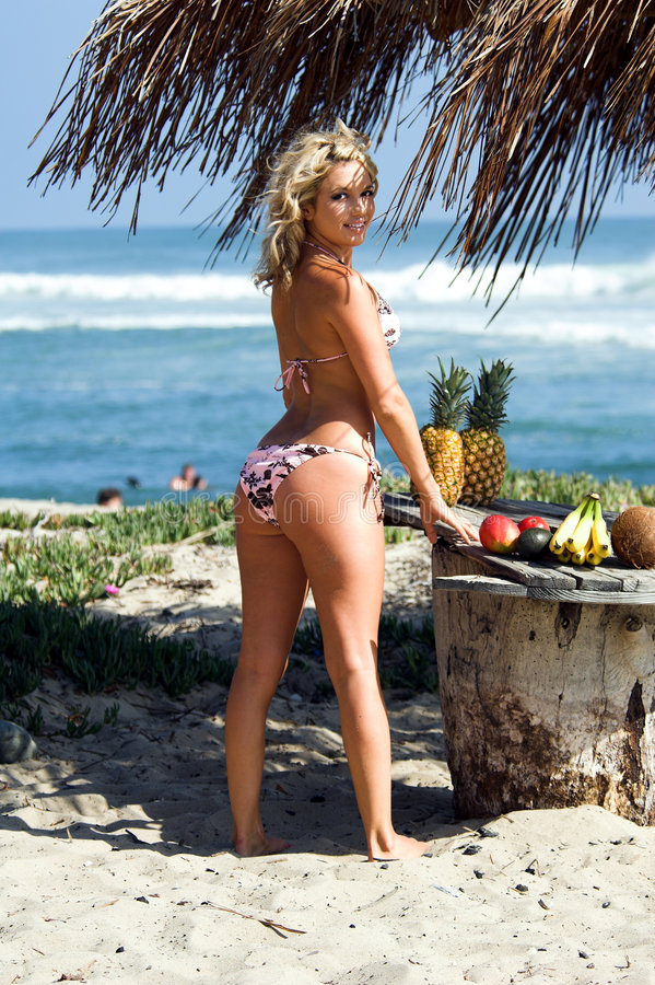 Bikini-Strand blond lizenzfreies stockbild