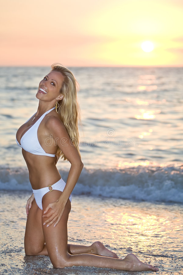 Bikini Sunset stock photography