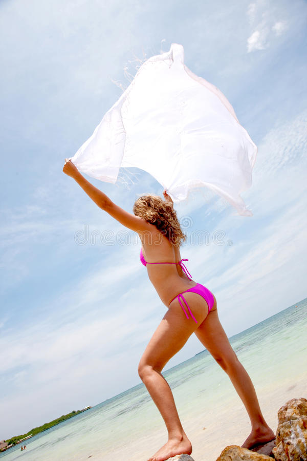Download Bikini Woman Feeling The Wind Stock Photo - Image: 11369778