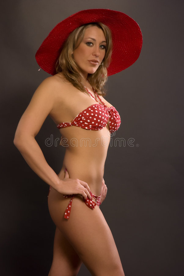 Bikini Woman With Hat stock photos