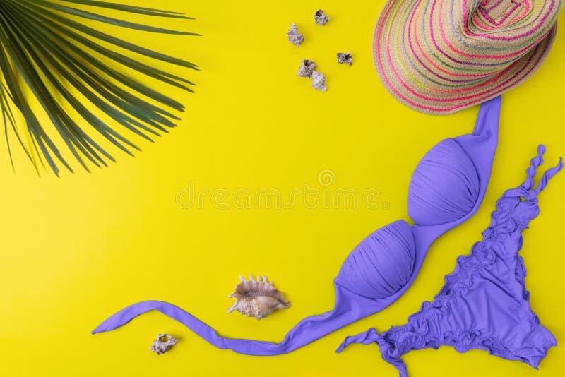 Bikinibaddräkt med tropiska palms sidor på en gul bakgrund Bästa sikt av kvinnas swimwear- och strandtillbehör med kopian royaltyfria bilder
