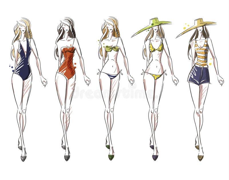Bikinicatwalk, modeillustration stock illustrationer
