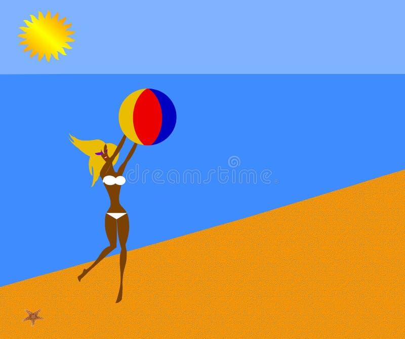 bikiniflicka stock illustrationer